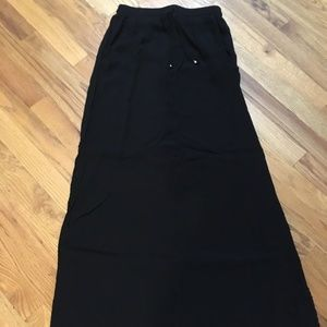 H&M Black Midi/Maxi Skirt with Slits